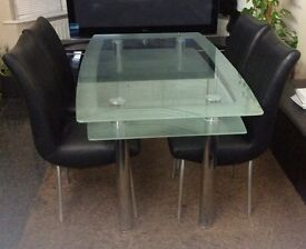 Dining table & chairs- glass & leather