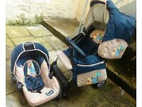 Buggy with car sit, raincover, changing bag and footmuff. The breaks need tightening