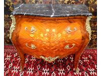 FRENCH EMPIRE LOUIS XV1 MARBLE MARQUETRY KINGWOOD ORMOLU BOMBE CHEST OF DRAWERS