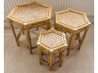 Nest of tables. Ideal conservatory furniture, in wicker and bamboo. Set of 3 Coffee tables.