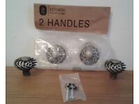 4 B & Q PEWTER EFFECT CAGE STYLE HANDLES WITH SCREWS FOR CUPBOARDS OR CABINETS