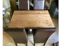 Quality Heavy Dark Wood Dining Table & Four Leather Chairs