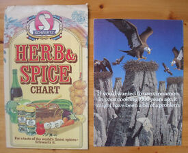 Vintage Schwartz herb & spice chart and promotional leaflet for cinnamon. £2 for both