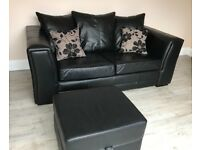 Leather sofa & storage footstool *REDUCED PRICE*