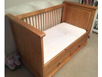Kidsmill Shakery Solid Wood Cotbed 70 X 140 with Two Drawers & Quality Mattress