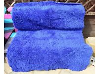 6 foot by 4 foot blue shag pile rug mat