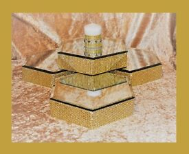 """CAN POST 8 x Wedding Table Centre Piece Hexagonal Mirror Plates 10"""" x 2"""" Was £14 each Sell £50 LOT"""