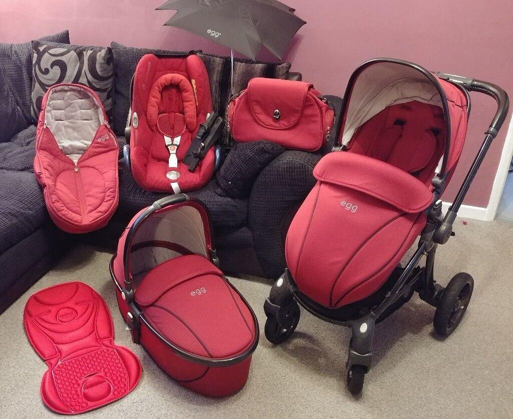 Egg Stroller Maxi Cosi Cabriofix Car Seat Pram Carrycot Footmuff Changing Bag Parasol Travel System