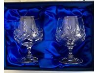 2 x Bohemia Crystal Bolero Brandy Glasses in Presentation Box