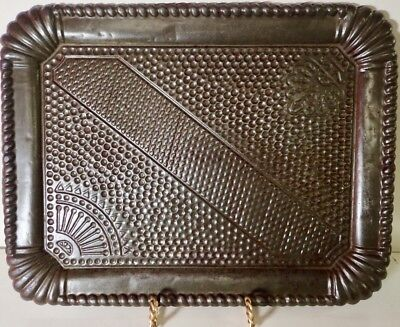 Rare Antique Pressed Tin Tray with Hammered Pattern & Beaded Rope Rim 13.5 x 11