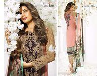 New Asim Jofa Inspired 3pcs Stitched Lawn Suit with Digital Printed Silk Dupatta in M, L, XL Sizes
