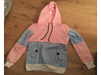 Pink and Blue Squared Hoodie