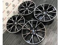 "BRAND NEW 20"" BMW M5 G30 STYLE ALLOY WHEELS - 5 X 112 - GLOSS BLACK DIAMOND CUT FINISH"