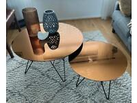 Coffee table and side table, glazed mirrored copper top with black hairpin legs