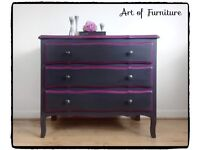 French Mid Century chest of drawers hand painted in Ash & Purple Fusion Mineral Paint