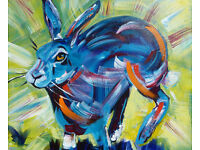 Hare original Acrylic painting by Marilyn Allis on canvas board
