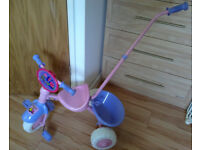 Pink Trike tricycle for small girls with Detachable Pushbar hardly been