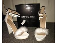 Fluffy White 5.5 Inch Heels Size 8 (Brand New)