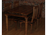 Handcarved Mango Wood Dining Table & Four Chairs - *Free Delivery