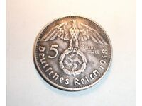 1938 German SILVER (90%), 5 Reischmark Coin ~ See Photo's For Condition