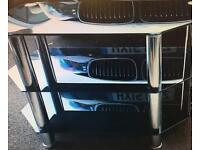 Sony chrome and smoked black glass TV unit