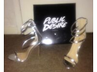 Stunning silver heeled going out shoes (Brand new & boxed) Size 4 (could fit a 3 or 5)
