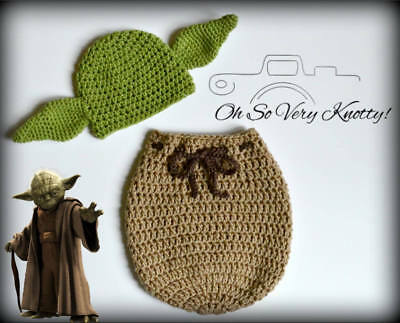 Star Wars Yoda inspired Handmade Crochet Newborn Baby Outfit Hat & Swaddle Sack