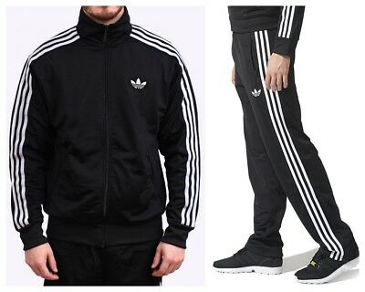 Adidas Originals Adi Firebird Mens Tracksuit Full Jacket Top Bottoms Pants Black