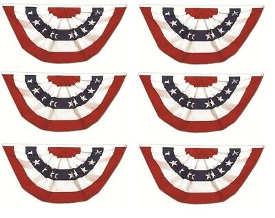 (6 Pack) 3x6 USA American Pleated Super-Poly Printed 2ply Flag 3'x6' Bunting Fan