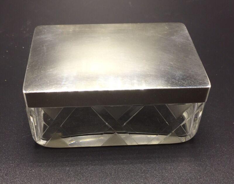 Hermes Paris Vintage French Sterling Silver & Crystal Glass Trinket Box