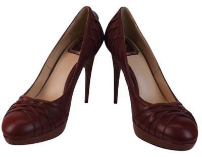 NIB CHRISTIAN DIOR BURGUNDY LEATHER KARENINA RUNWAY PUMPS 39 9