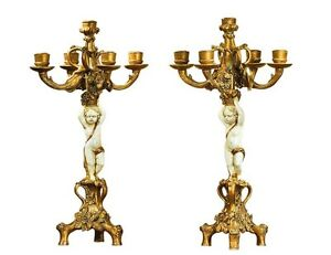 Rococo Gold & Ivory Candlesticks Pair Cherub Candelabra Antique French Baroque