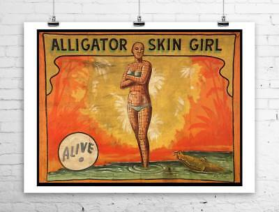 Alligator Skin Girl Vintage Freak Show Poster Rolled Canvas Giclee 30x24 in. 24 X 30 Giclee Canvas