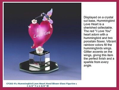 I Love You Hummingbird Heart Crystal Base Rose Hand Blown Figurine Air Brushed