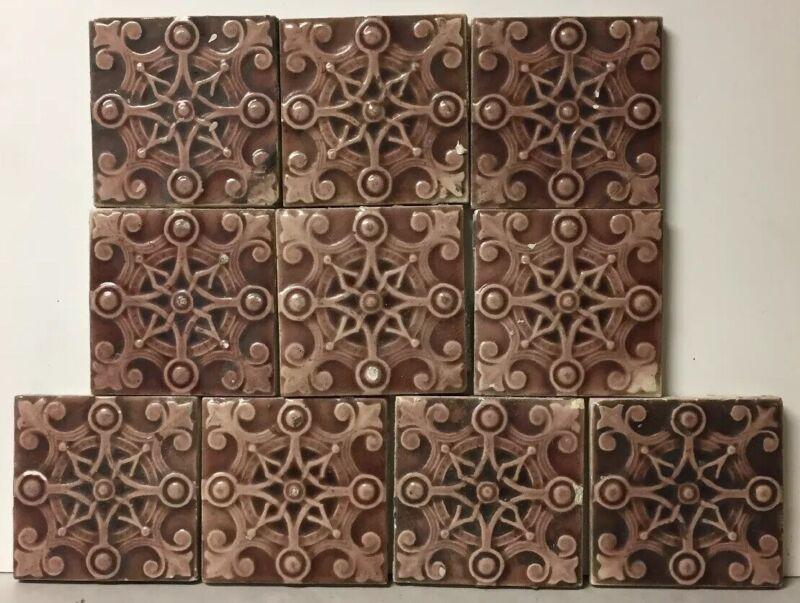 "Lot of 10 Vintage or Antique TRENT tiles, Beautiful Design 4 5/16"" X 4 5/16"""