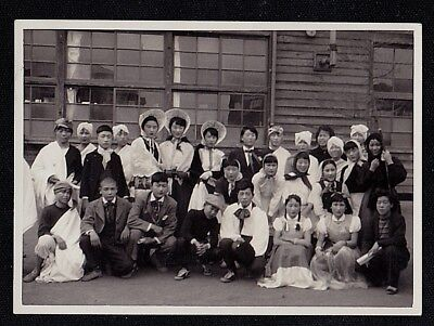 Vintage Antique Photograph Large Group of People Wearing Costumes / Cool Outfits