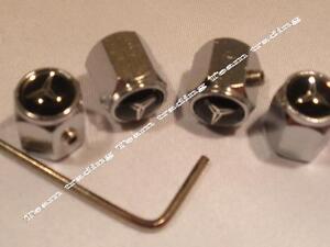 MERCEDES-Four-BLACK-WHITE-Locking-Valve-Tyre-Tire-Dust-Caps
