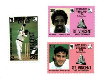 St. Vincent 1994 SC# 2098-00 Cricket Sport Wisden Trophy - Set of 3 Stamps - MNH