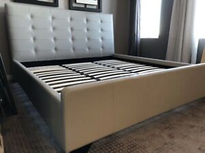 Complete Leather bed with Mattress and dresser (BRAND NEW)