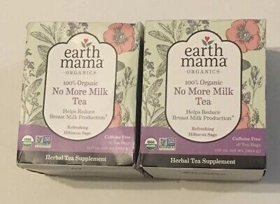 Lot of 2 Earth Mama Angel Baby Organic No More Milk Tea - 32 Bags Exp 7/26/22 Ground Mint Tea