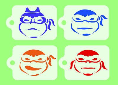 Tmnt Face Paint (Teenage Mutant Ninja Turtles x 4 Face Painting Stencils 190micron Reusable)