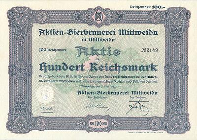 Mittweida Aktien-Bierbrauerei Mittweida Aktie 100 RM 1930 Brauerei Sachsen