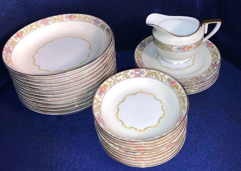 Rare Antique Nortitake Bone China Dishes GREEN M WREATH Early 1920's Japan