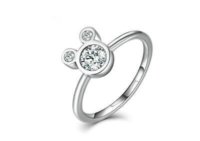 Disney Minnie Mouse 925 Silver Micro-inlay 1 Ct Cubic Zirconia Adjustable Ring (1 Ct Cubic Zirconia)