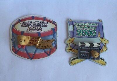 CHERISHED TEDDIES CLUB MEMBERS BADGES FOR 1999 & 2000