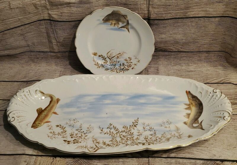Hand Painted Vintage Fish Game Platter Tray with Plate