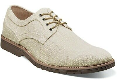 Mens Dress Casual Shoes Plain Toe Oxford Cream Textured Canvas STACY ADAMS 25237 Casual Canvas Oxford