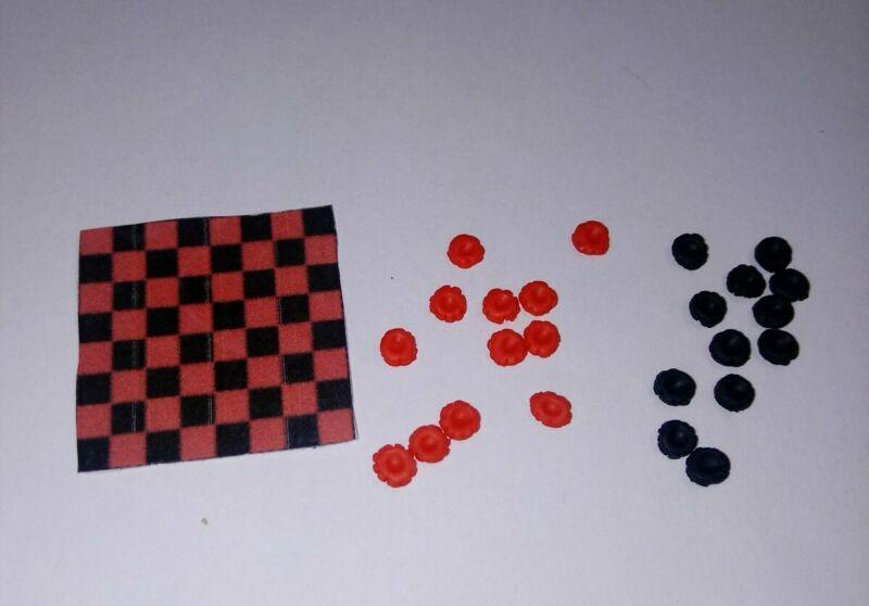 Dollhouse Miniature Checker Board Set Games Dolls Hobby Dollhouse