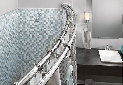 Double Shower Curtain Rod Curved Chrome Finish Adjustable Bar Dual Bathtub Tub