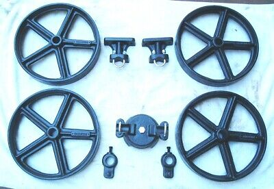 Antique Hit Miss Gas Engine Cast Iron Cart Truck Parts Set 12 Five Spoke Wheels